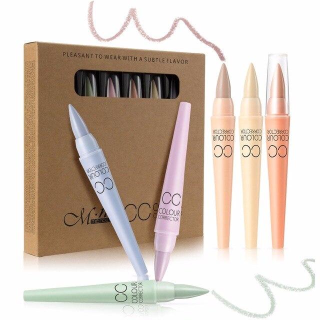 2017 Nuevo Profesional CC corrector de color Antiojeras cubierta pore contorno natural stick pen Cara cosmética 6 unids/set marca menow