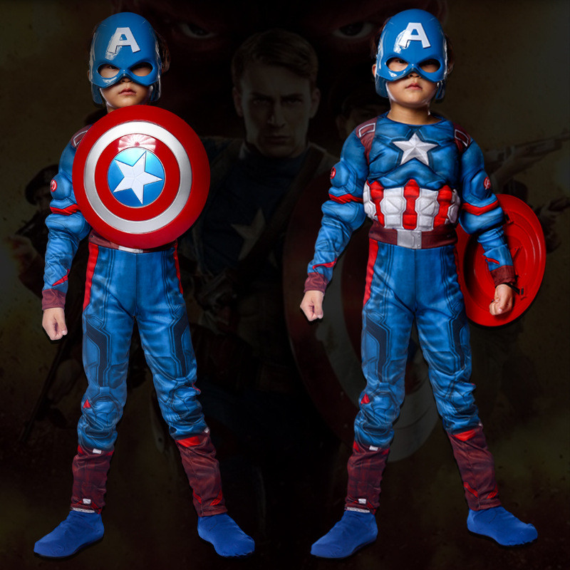 Superhero Muscle Captain America Kids Costume Avengers Christmas Purim Festival Cosplay Costume Boys Girls Birthday Party Gift