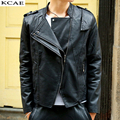 Новый Мотоцикл Кожаная Куртка Мужчины Тонкий Моды Черный Куртки и Пальто Байкерская Одежда
