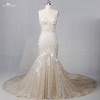 RSE807 Yiaibridal Long Train Sweetheart Neckline Colored Gold And Ivory Elegant Mermaid Glitter Golden Evening Dress