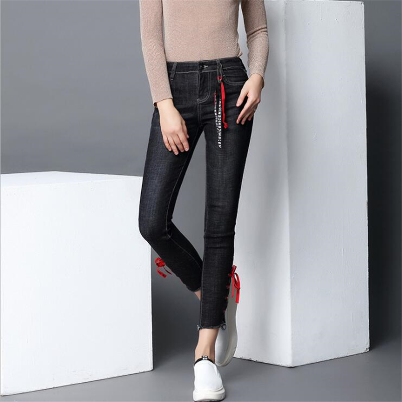 VANLED Lace Up Hole 2017 Hot Fashion Ripped Jeans Women Jeans Woman Jeans For Girls Stretch Mid Waist Skinny Jeans Female Pants boyfriend jeans women pencil pants trousers ladies casual stretch skinny jeans female mid waist elastic holes pant fashion 2016