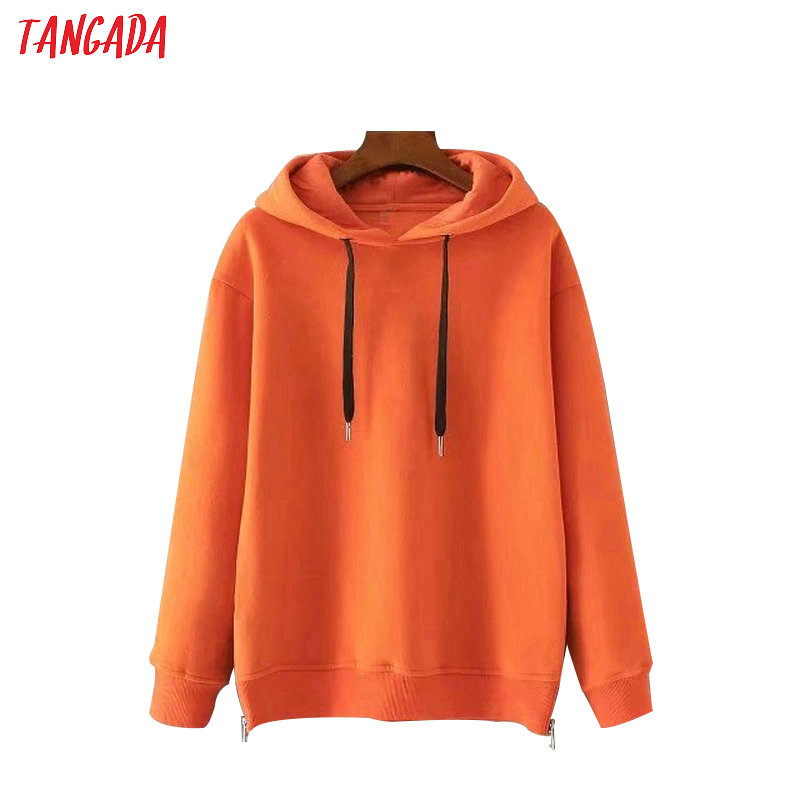 Tangada Autumn Winter Fashion Women Fleece Hoodie Sweatshirts Hooded Warm Long Sleeve Ladies Thick Orange Pullovers SD02