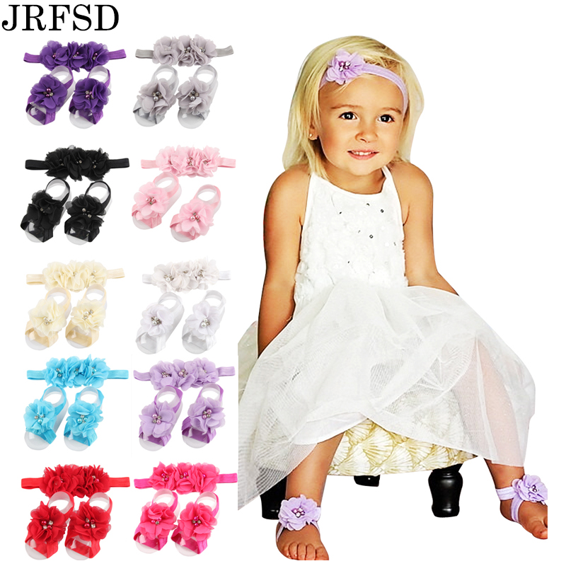 JRFSD 2017 Newborn Flower Headband barefoot sandal sets satin flower hair accessories for girls Photography props 13 colors pick metting joura women girls bohemian punk vintage braided silver metal seed beads knitted flower headband hair accessories