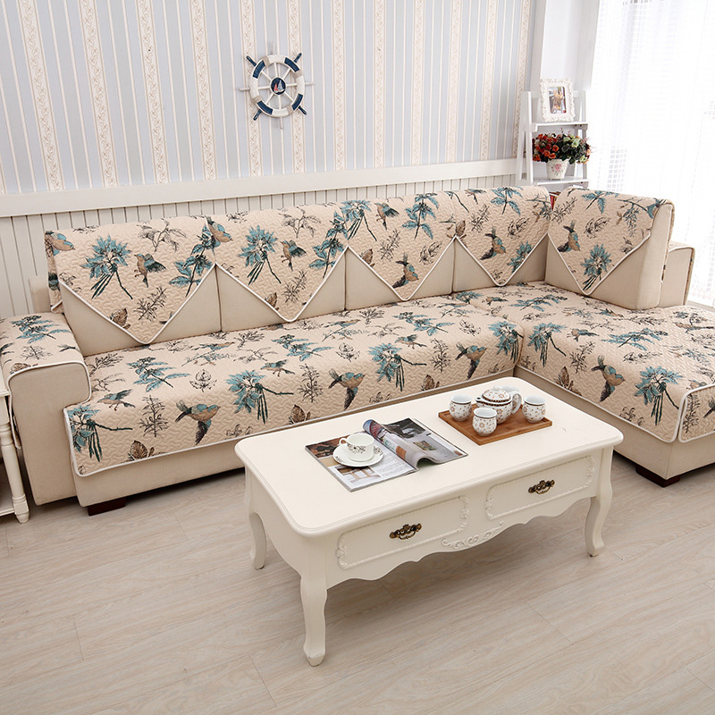 Awesome Vintage Birds Pattern Cotton Quilted Sofa Cover For Corner Machost Co Dining Chair Design Ideas Machostcouk