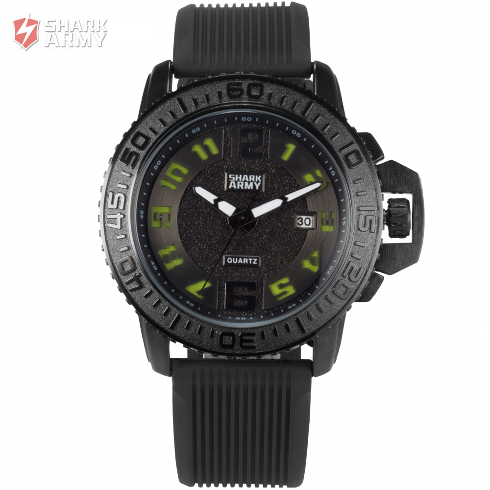 font b Shark b font Army Brand Black Green Auto Date Silicone Strap font b