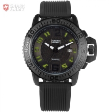 Shark Army Brand Black Green Auto Date Silicone Strap Watches Male Military Clock Relogio Men Sport Quartz Wrist Watches /SAW181
