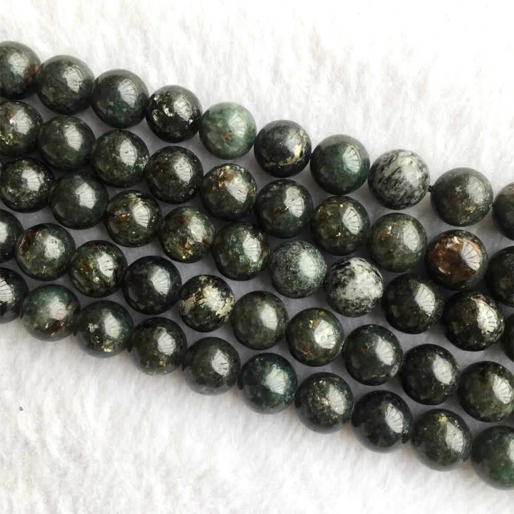 "Natural Genuine Green Black Phlogopite Biotite Round Loose Smooth Necklace or Bracelet Beads 4-12mm 15"" 05997"