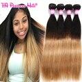 8А Необработанные Бразильские Волосы Прямые 4 Bundle Дешевые 1B 27 Ломбер Блондинка Бразильские Волосы 30 Дюйм(ов) Бразильские Прямые Sterly Волос