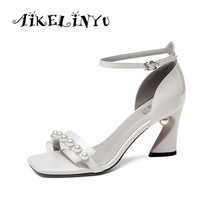 AIKELINYU Genuine Leather Lady Sandals Open Toe High Heel Nightclub Beads Women Fashion Square Sexy Shoes