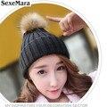 2016 Nueva Edición de Invierno Sombreros Gorro de Punto de Ganchillo Conejo Pompones Oído Proteja Tapa Ocasional rentable