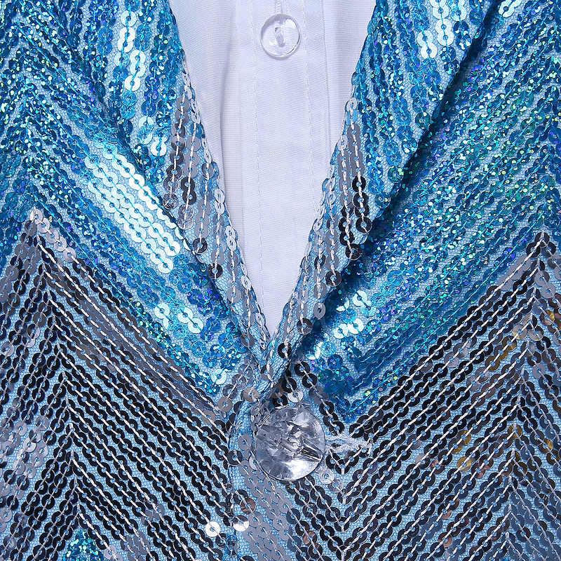 (ジャケット+パンツ)ライトブルーホワイトシルバースパンコールタキシードストライプpailletteのステージショー介添人スリムスーツスパンコールジャケット男性