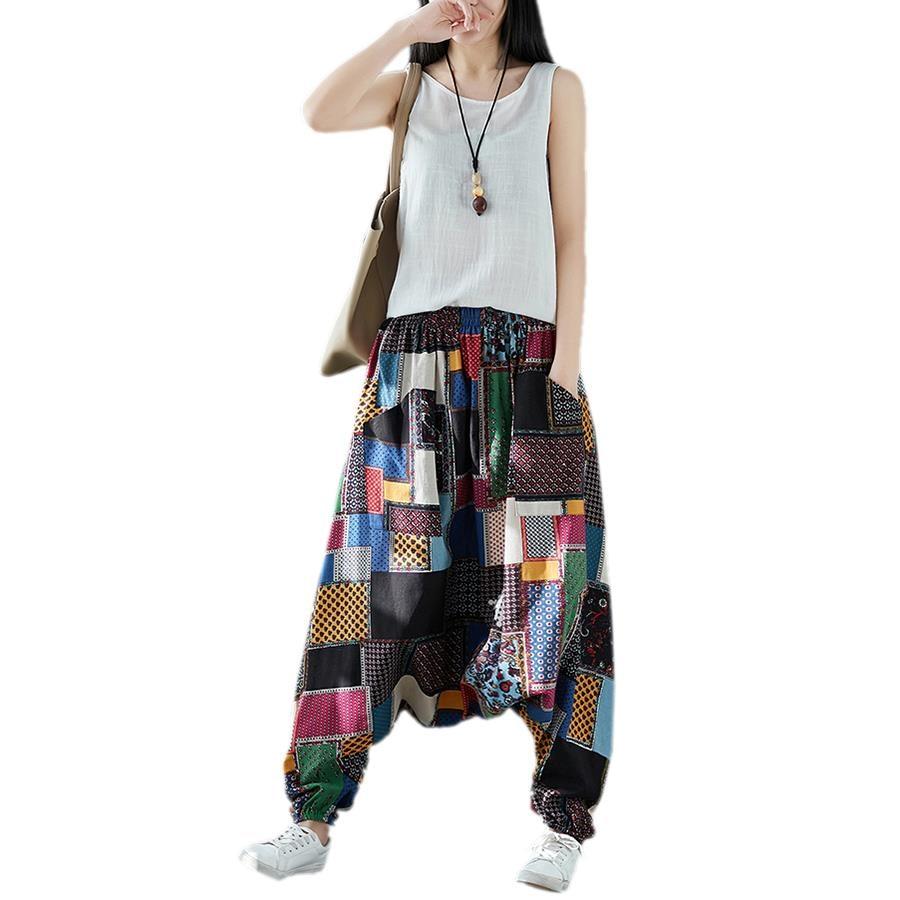 Unisex Vintage Print Loose Harem Pants Casual Elastic High Waist Cotton Linen Lantern Pants Wide Leg Trousers Hip Hop Pants Bl