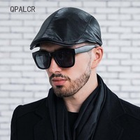 QPALCR Branded Fall Winter Men Leather Hat Vintage Flat Cap Female Berets Hats For Women Cowhide Newsboy Cap High Quality