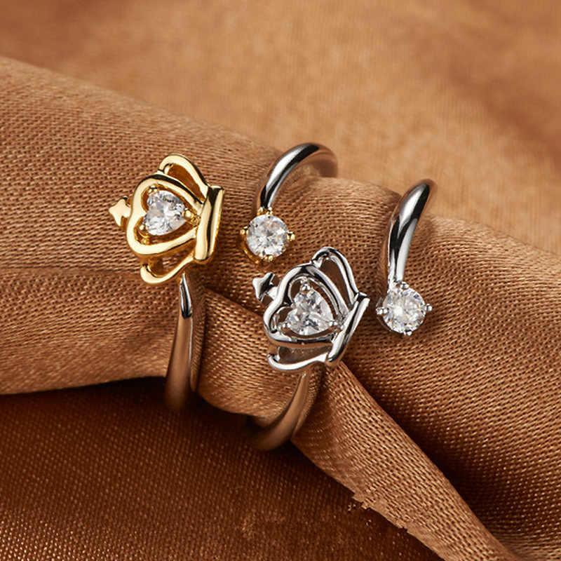 נובל כתר חתונה טבעת פתוח 925 סטרלינג כסף צבע קריסטל טבעות נשים תכשיטי אנל Anillos Aneis Bague תכשיטי M281