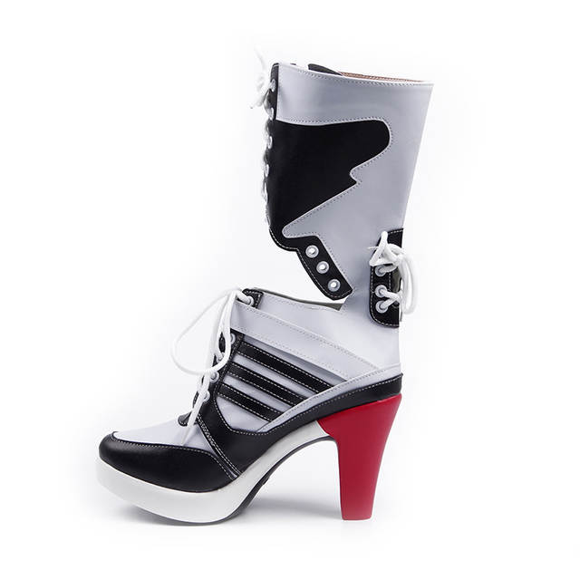 d7d3ce5db59 Harley Quinn Cosplay High Heel Boots Women Adult Sexy Snow Shoes Thigh High  Costume Accessories Halloween