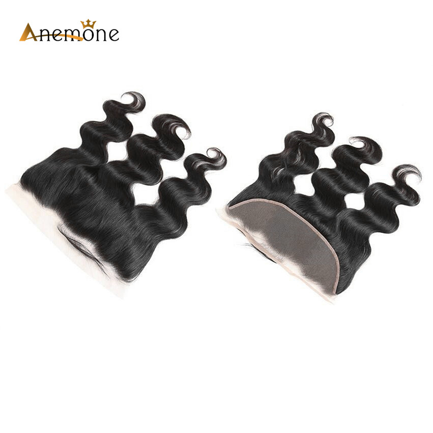 Anemone Body Wave Lace Frontal With Baby Hair (13*4) Indian Human Hair Half Machine Half Hand Made Front Lace Closure Non Remy