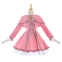 New Clear Card Clamp Cardcaptor Sakura Cosplay Costume Kinomoto Pink Dress Halloween Adult Costumes for Women S-L