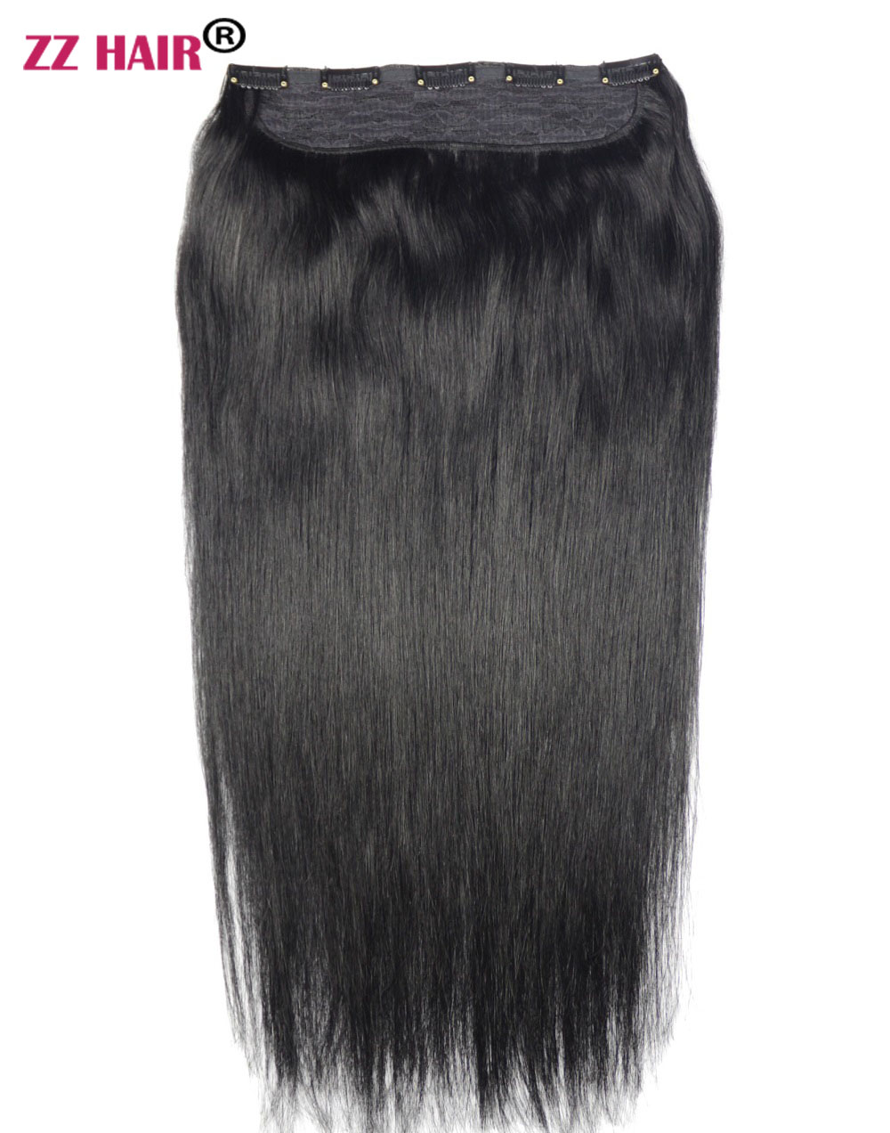 """ZZHAIR 24"""" 61cm 100% Brazilian Hair 5 Clips In Human Hair Extensions 1Pcs 150g One Piece Set Straight Natural Hair Non-remy"""