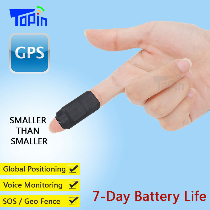 Topin Mini GPS Tracker D3 Hidden LBS Locator GSM Voice Recorder Vibration Alarm SMS Tracking iOS Android APP for Kids Cars Pet image