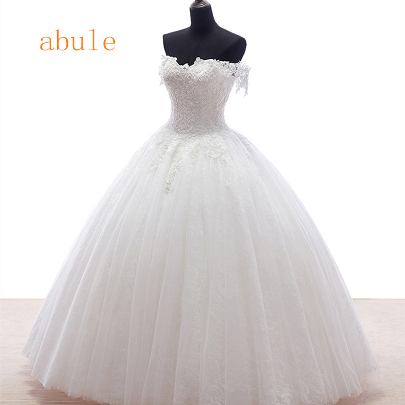 2016 new arrival White lace lace up Princess Wedding Dress Good quality wedding gowns Designer real poto vestido de noiva