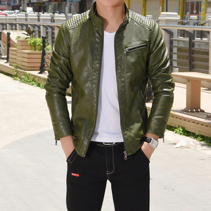 Image 5 - 2020 Spring PU Leather Jacket Men Solid Casual Faux Leather Coat Slim Fit Motorcycle Leather Jacket Outwear