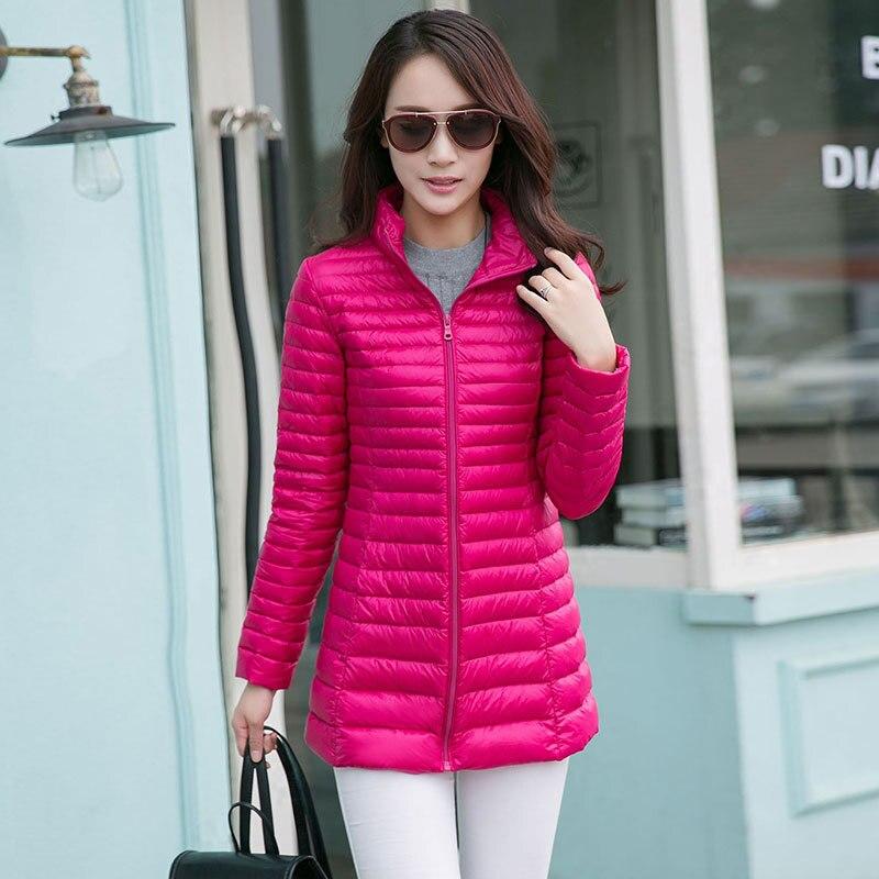 Plus size ultra thin lightweight warm stand collar long slim down jacket  women white duck down coat outerwear 2017 autumn winter a374f1a62387