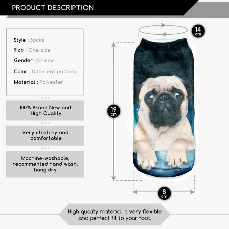 3D Print pug Animal men Socks Casual cartoon Socks Unisex Low Cut Ankle Socks Hot Hot Item