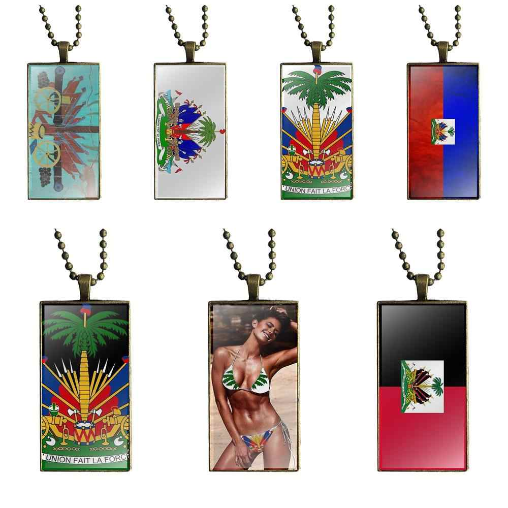 EJ Glaze For Christmas Gift Haiti Coat Of Arms Design Fashion Vintage Glass Women Rectangle Necklace Pendants