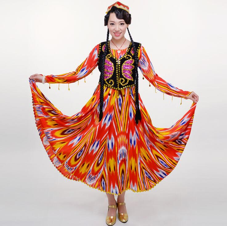Women National costume dance performance dress long skirt female Aidiles silk