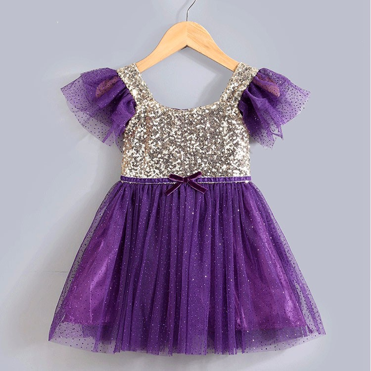 Fashion baby party frocks white purple pink 6 month to 3 years old ...