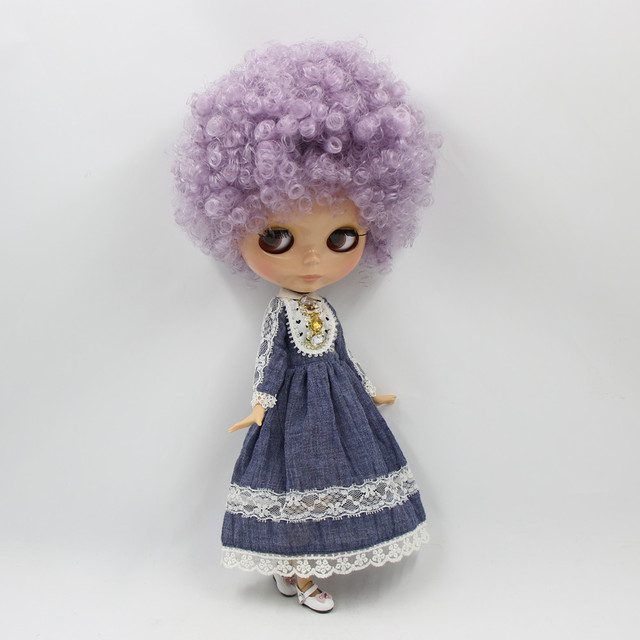 ICY Neo Blythe Doll Short Purple Afro Hair Jointed Body 30cm