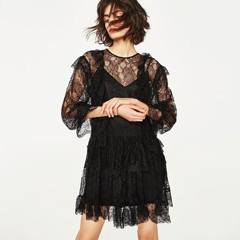 2017 font b Women b font Dresses Casual Black Long Sleeve O Neck See Through Beach