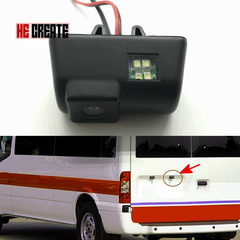 HE CREATE 170 Degree Ccd Hd Car Reversing Rear View License Plate For Ford Transit Connect