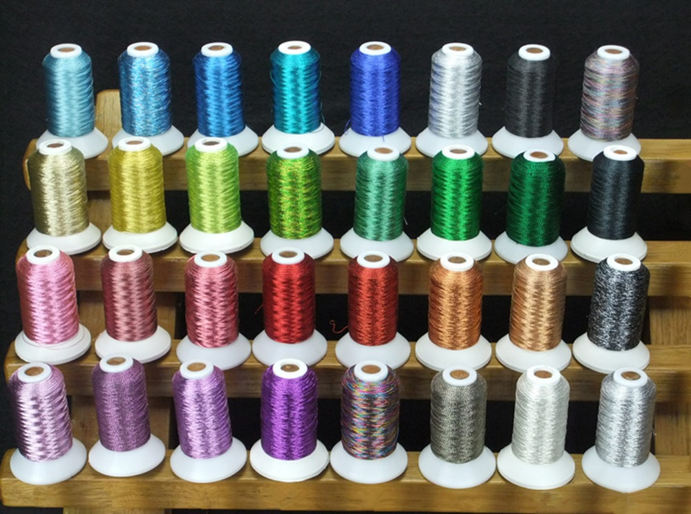 Simthread 32 Assorted Colors Machine Embroidery Thread Luxurious Metallic Thread Similar To Madeira Colors 500 Meters Each