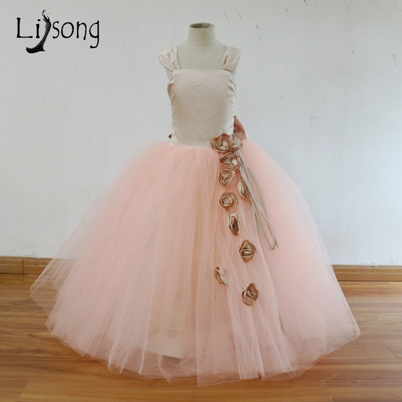 Cute Baby Blush Pink   Flower     Girl     Dress   3D   Flower   Big Bow Pageant   Dresses   Kids   Dress   To Formal Party First Communion   Dresses