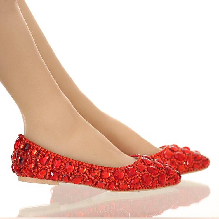 ФОТО Red rhinestone women shoes flats pointed toe crystal rhinestone flats casual shoes women flat heel luxury flats for women shoes