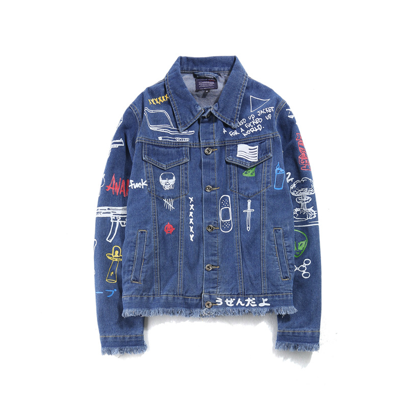 Men Denim Jackets winter Streets DOODLE Long sleeve Hole Jeans Coat Men Street locomotiv ...