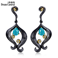 DC1989 Funny Legs Pendant earrings Black Gold Plated Teal Blue Cubic Zirconia Brass Lead free Drop for women ZE52808