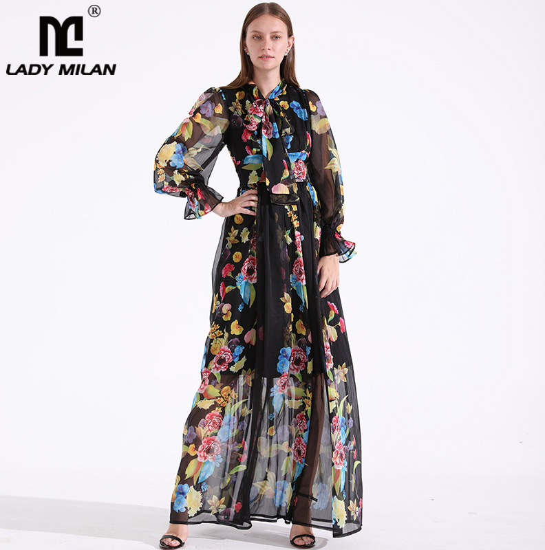 New Arrival Womens Bow Collar Long Sleeves Floral Printed Fashion High Street Casual Maxi Summer Dresses