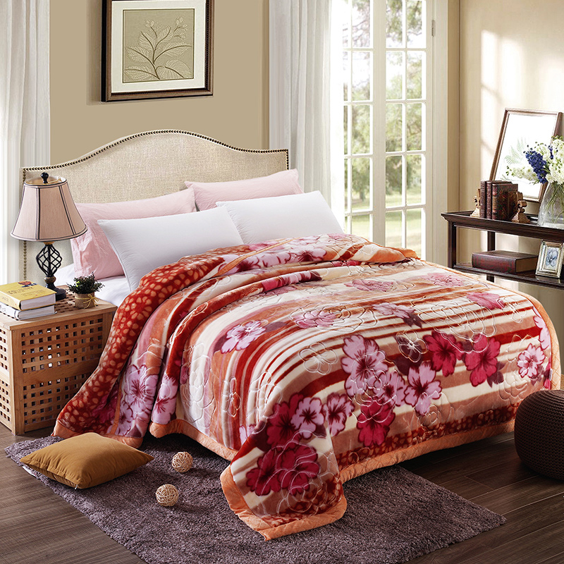 Embossing and print thicken Blankets Queen size Double face Microfiber soft blanket warm Bed sheet winter sofa Throw/comforter