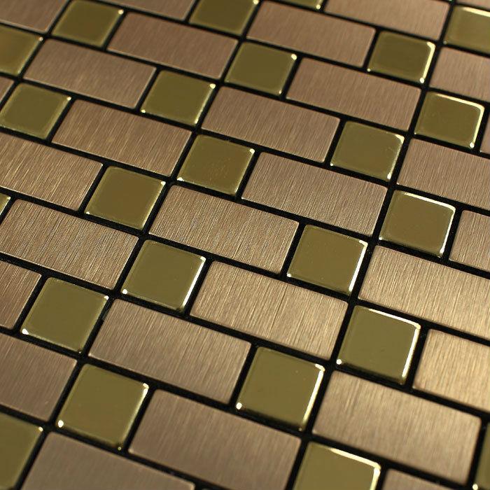 Metallic Tile Wall stickers brushed Interlocking Mosaic