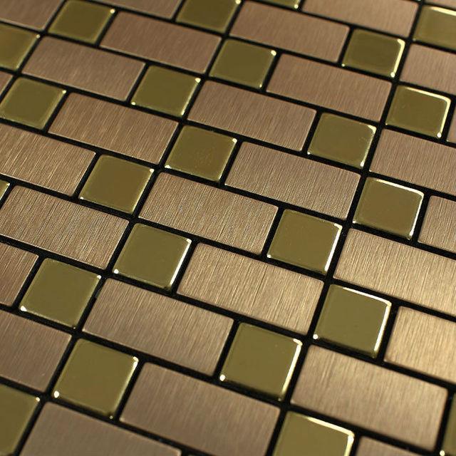 Metallic Tile Wall Stickers Brushed Interlocking Mosaic Tiles Brick Stainless Steel Sheet Metal Kitchen Backsplash 9102