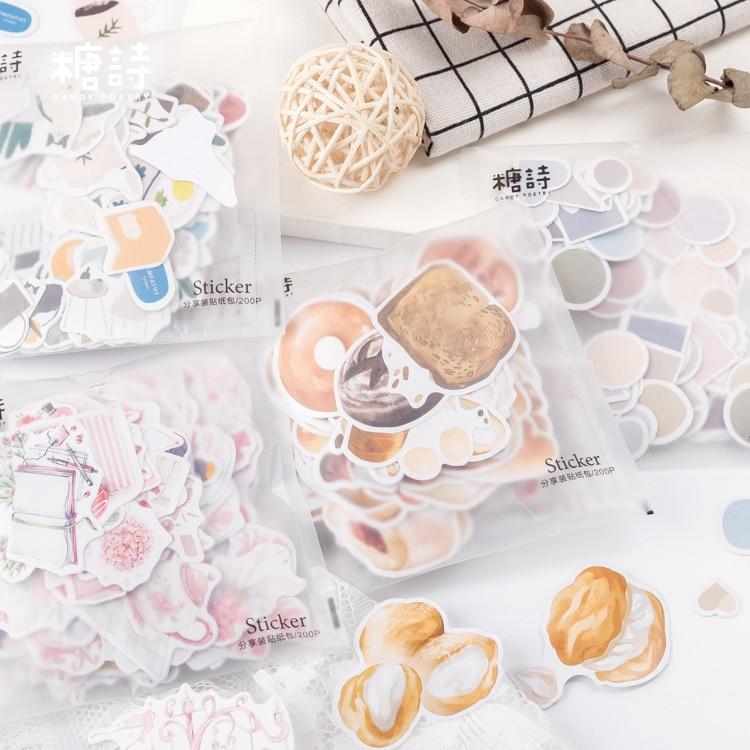 200pcs/pack Sweet Memory Series Cake Bullet Journal Decorative Stationery Stickers Scrapbooking DIY Diary Album Stick Label