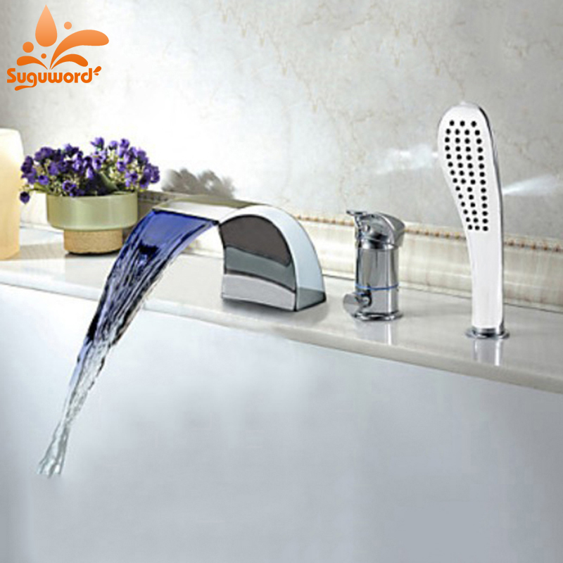 LED Light Waterfall Spout Bathtub Filler Faucet Single Handle Mixer Tap with Handheld Spray