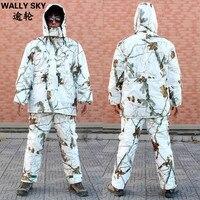 Для мужчин Снег Камуфляж Охота костюмы термо утепленная куртка и брюки открытый бионная одежда Ghillie костюм Человек зимняя стеганая одежда