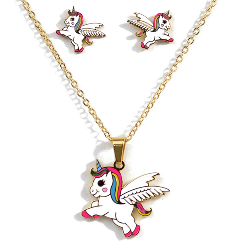 Hot Sale 4 Style Animal Jewelry Set Chain Kids Jewelry Cartoon Horse Unicorn Necklace Earring Unicorn Jewellery Sets For Girls