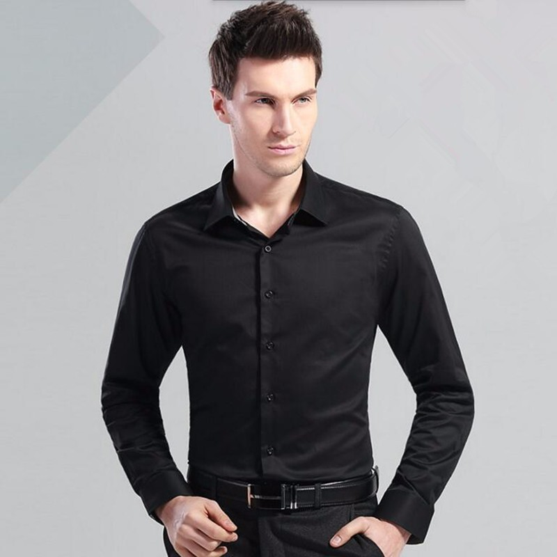 5.1Haute couture dress shirt  long sleeve men shirt contracted joker black white bisiness formal the interview shirt