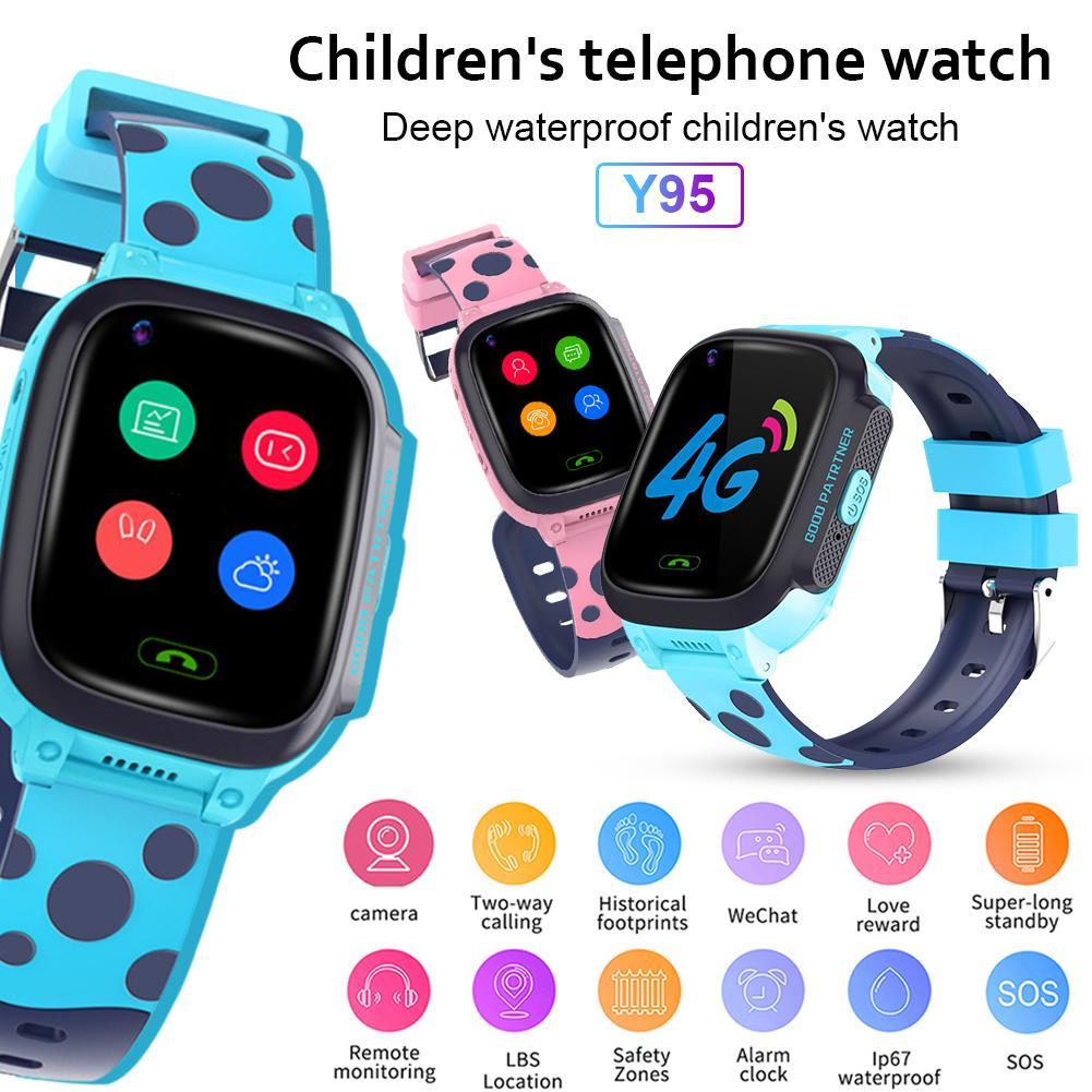 Tüketici Elektroniği'ten Akıllı Saatler'de Y95 akılı çocuk saati HD Görüntülü Görüşme 4G Tam Netcom AI Ödeme WiFi Sohbet GPS Konumlandırma Çocuklar için title=