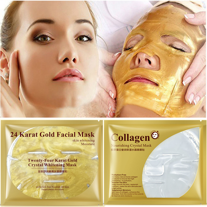 10pcs 24 K Gold Collagen Face Mask Anti Wrinkle Remove Blackheads Facial Skin Care Gold Mask Anti-aging Deep Moisturizing Masks
