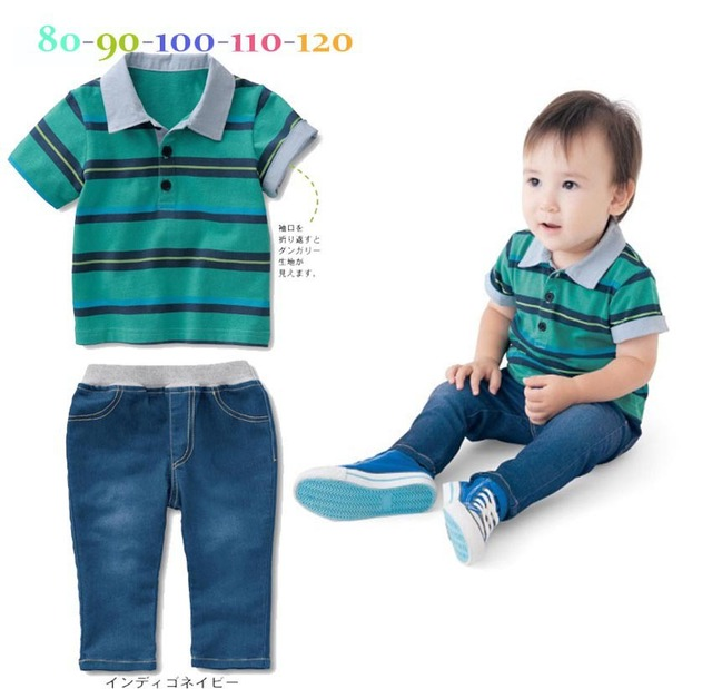 b325bc60d children boys polo shirt baby kids boy clothes set short sleeve turn-down  collar striped T-shirt+long jeans denim pants 2pcs/set